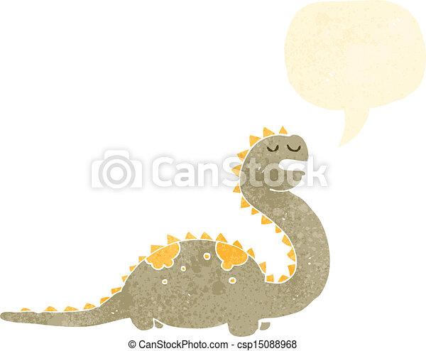 retro cartoon friendly dinosaur - csp15088968