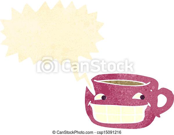 Retro Cartoon Happy Coffee Cup