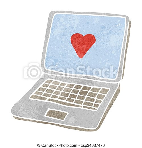 Freehand Retro Cartoon Laptop Computer With Heart Symbol On