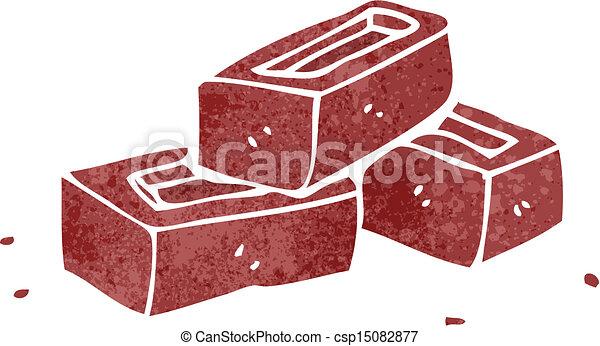Retro Cartoon Pile Of Bricks Vector