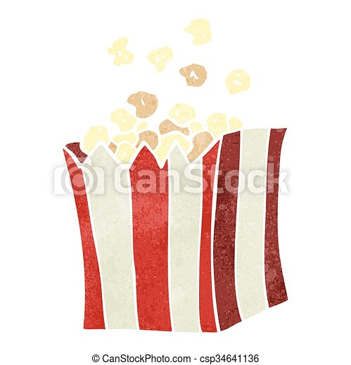 retro cartoon popcorn - csp34641136
