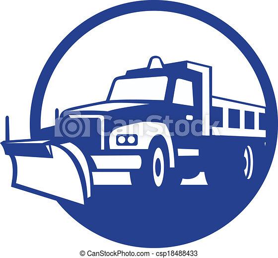 retro, charrue, camion, cercle, neige - csp18488433