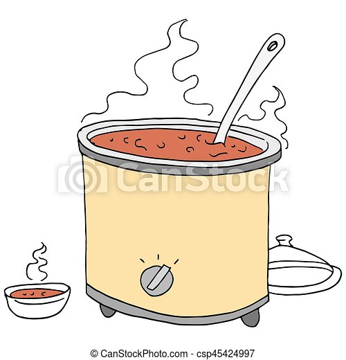 retro chili crockpot drawing - csp45424997