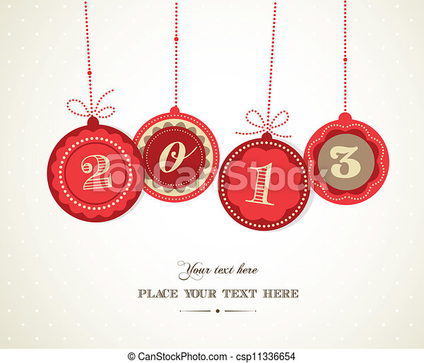 Retro Christmas balls with text space - csp11336654