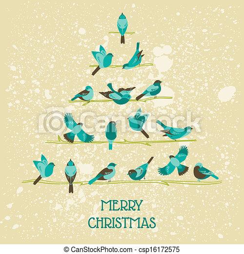 Retro christmas card birds on christmas tree for vectors retro christmas card birds on christmas tree for invitation congratulation in vector stopboris Images
