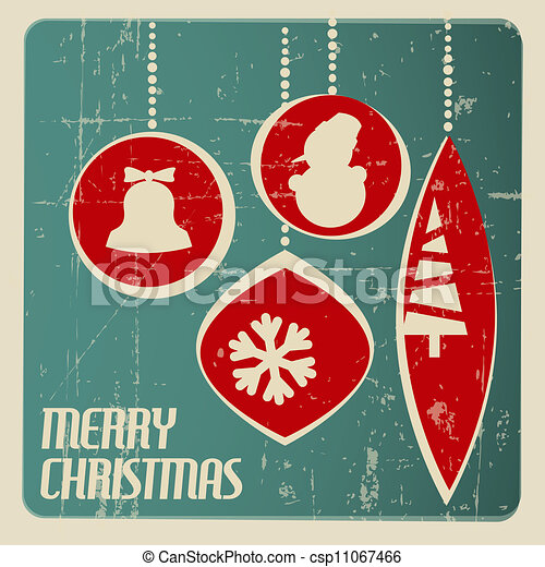 Retro Christmas Card With Decorations