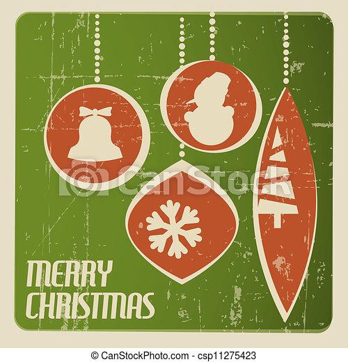 Retro Christmas card with christmas decorations - csp11275423