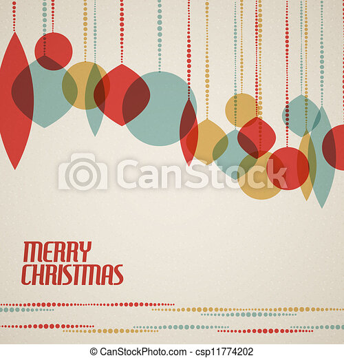 retro christmas card with christmas decorations teal brown and red