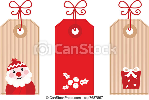 Retro Christmas Gift Tags Or Labels Red Cute Stylized Retro