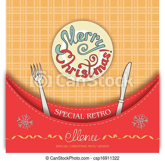 Retro Christmas menu - csp16911322