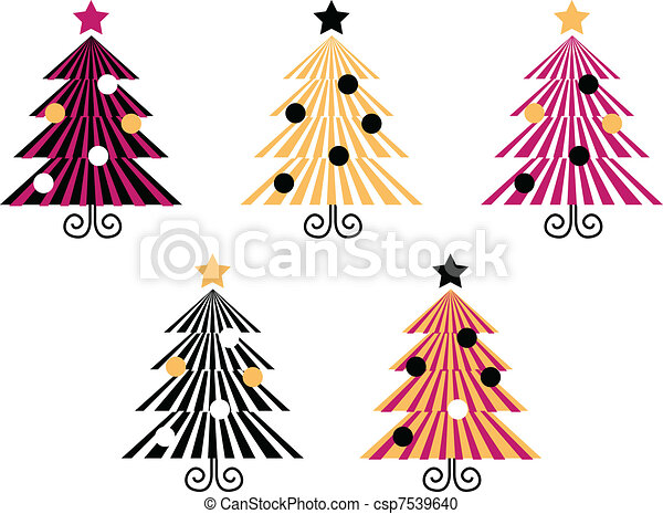 8f848a0420beb Retro christmas trees collection isolate on white . Christmas trees ...