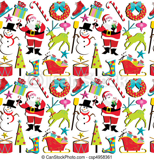 Retro Christmas Wallpaper - csp4958361