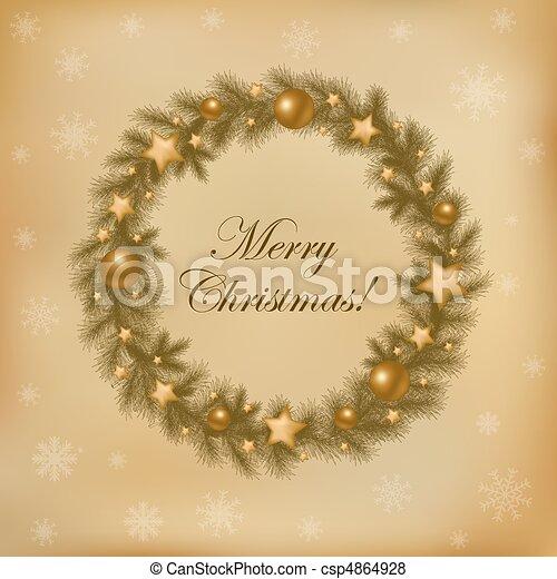 Retro Christmas Wreath - csp4864928
