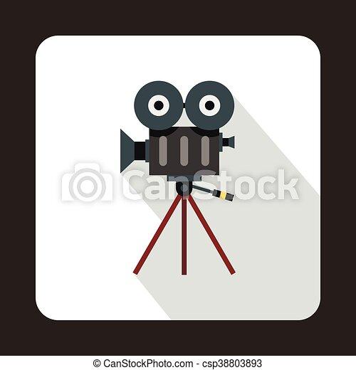 Retro cinema camera icon, flat style - csp38803893