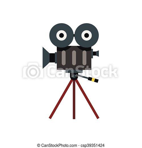 Retro cinema camera icon, flat style - csp39351424