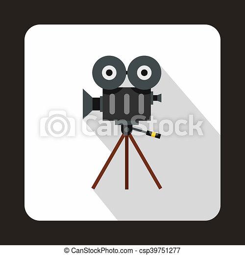 Retro cinema camera icon, flat style - csp39751277