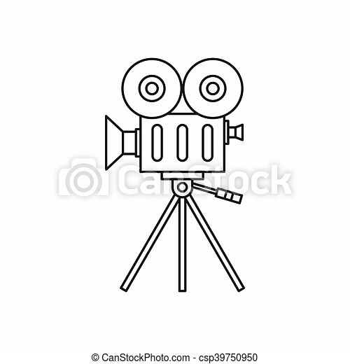 Retro cinema camera icon, outline style - csp39750950