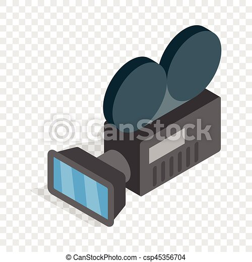 Retro cinema camera isometric icon - csp45356704