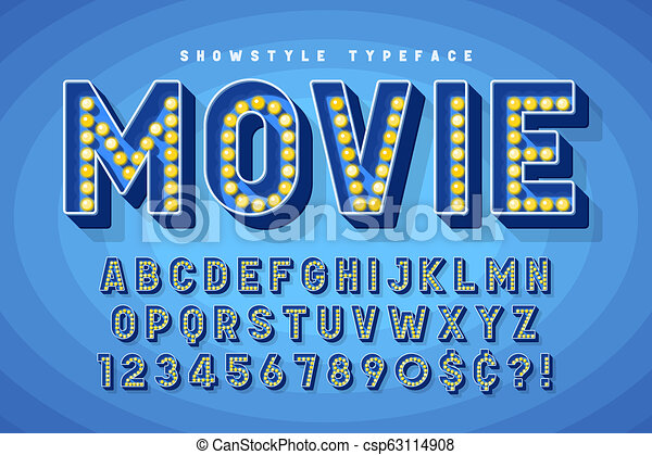 Retro Cinema Font Design Cabaret Broadway Letters And Numbers Swatches Color Control