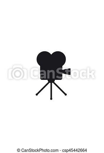 Retro cinema icon isolated on white background  Old movie projector vector  illustration