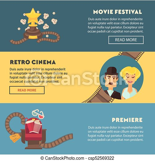 Retro cinema movie premiere festival vector flat web for Film premiere invitation template