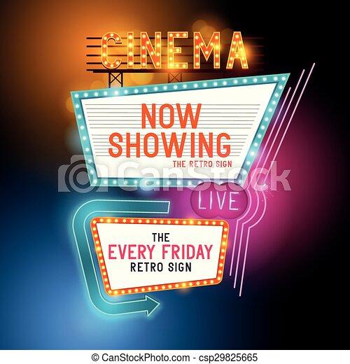 Retro Cinema Sign - csp29825665