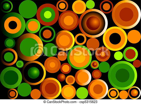 Retro Circles Green and Orange - csp5315623