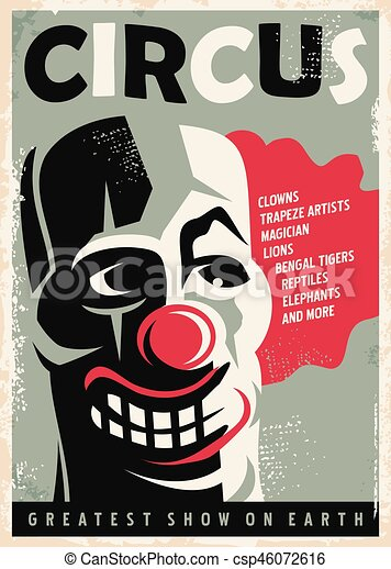 retro circus poster design template with clown portrait vintage