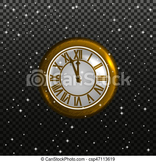 Retro clock on a starry sky background - csp47113619