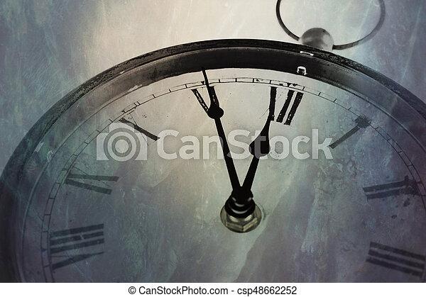 Retro clock with five minutes before twelve - csp48662252