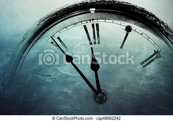 Retro clock with five minutes before twelve - csp48662242
