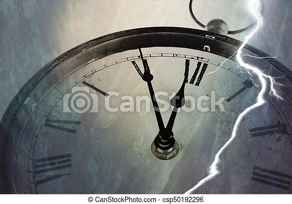 Retro clock with five minutes before twelve - csp50192296