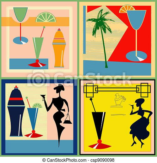 Retro Cocktail labels - csp9090098