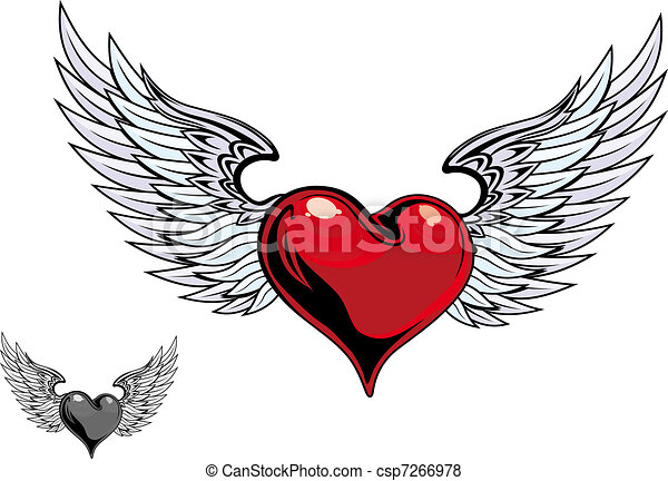retro color heart tattoo retro color heart with wings for vector rh canstockphoto com tattoo heart with angel wings tattoo heart with wings designs