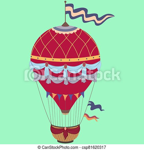 Retro color hot air balloon on vintage green background - csp81620317