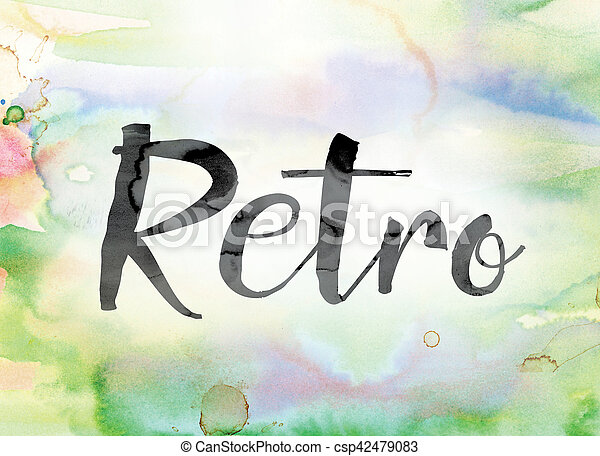 Retro Colorful Watercolor and Ink Word Art - csp42479083