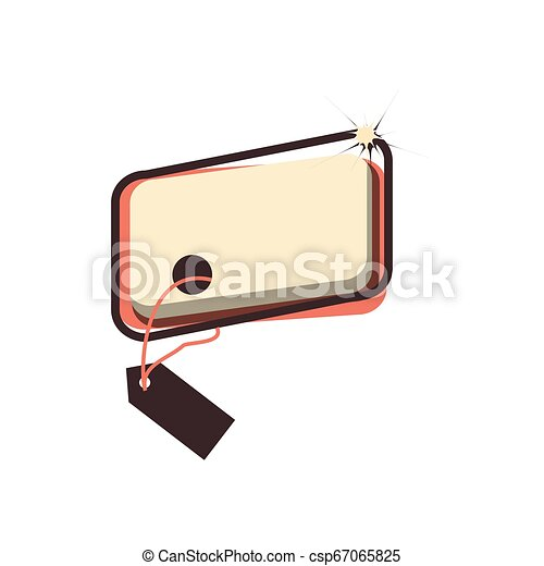 retro commercial tag hanging - csp67065825