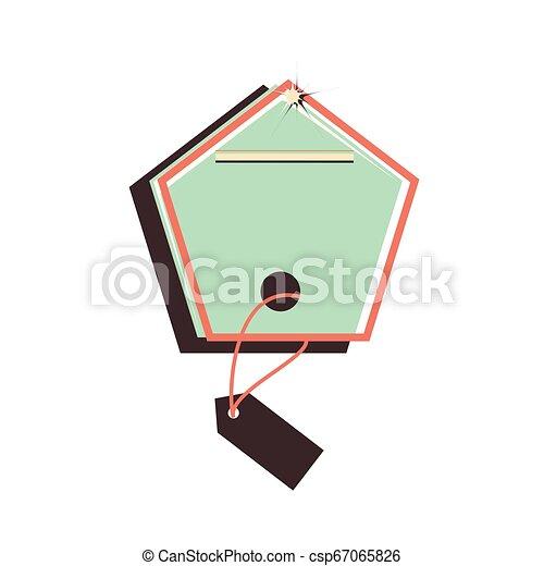 retro commercial tag hanging - csp67065826
