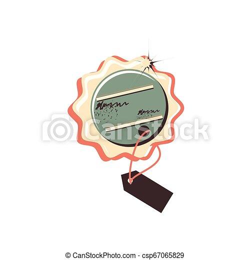 retro commercial tag hanging - csp67065829