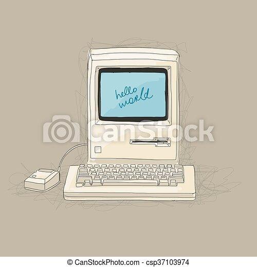 Retro computer, sketch for your design