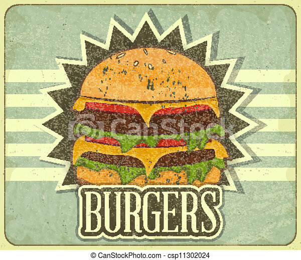 Retro cover for fast food menu - hamburger on vintage ...