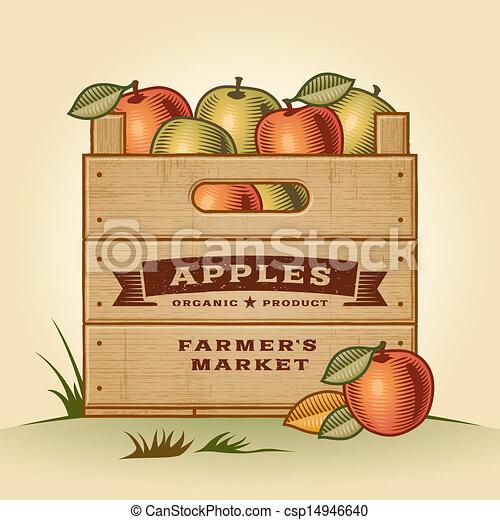 Retro crate of apples - csp14946640