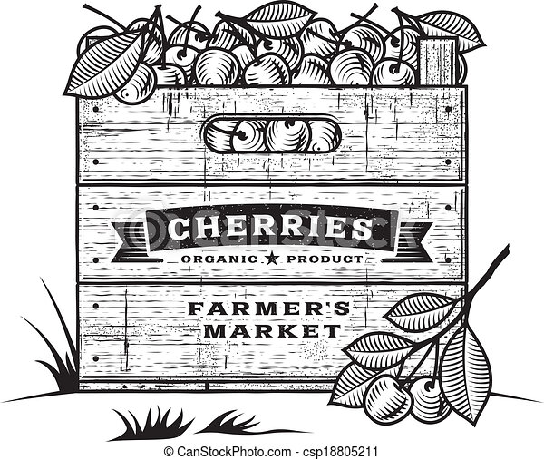 Retro crate of cherries b&w - csp18805211
