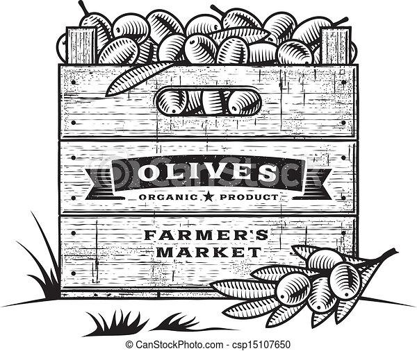 Retro crate of olives B&W - csp15107650