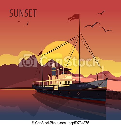 Retro cruise ship at the pier at sunset - csp50734375