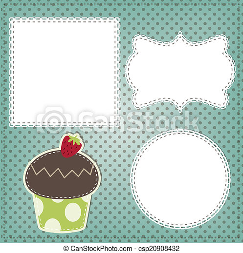 Retro cupcake layout, with vintage lace frames  - csp20908432