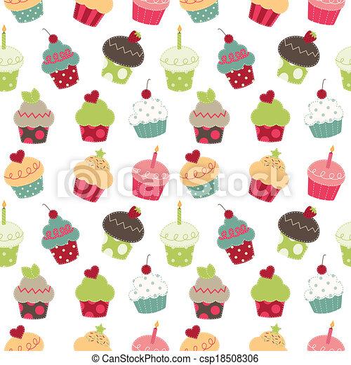 Retro cupcakes seamless pattern - csp18508306