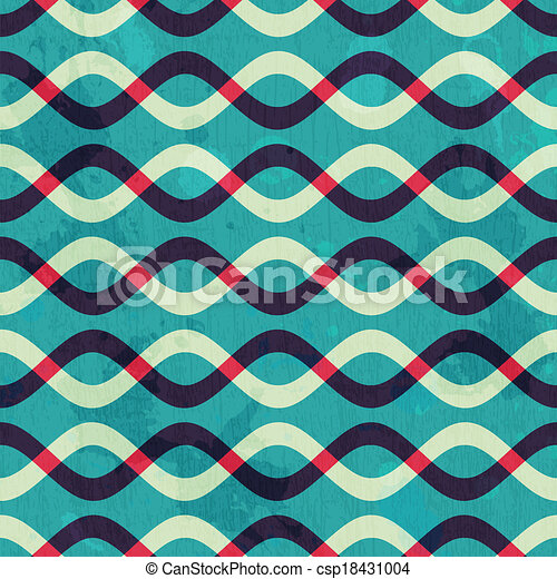 retro curve seamless pattern with grunge effect - csp18431004