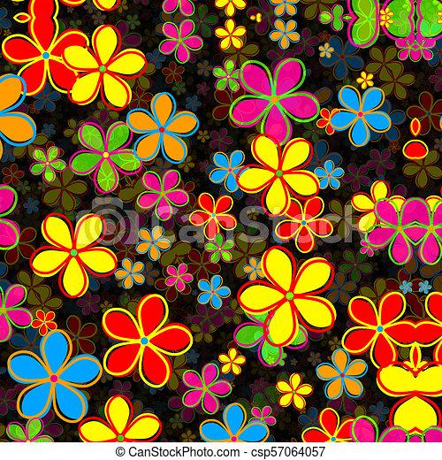 Retro Daisy Flower Pattern - csp57064057