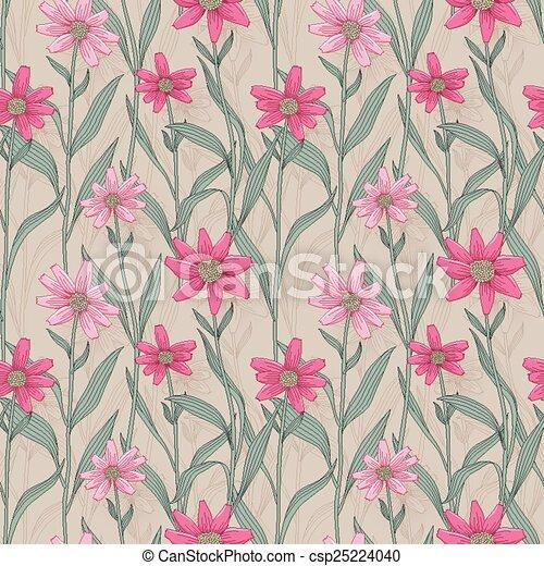 retro daisy seamless pattern - csp25224040